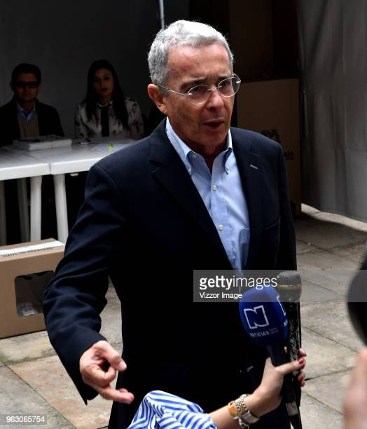 Former President of Colombia Álvaro Uribe Vélez speaks to the press during the 2018 Presidential Elections in Colombia on May 27 2018 in Bogota...