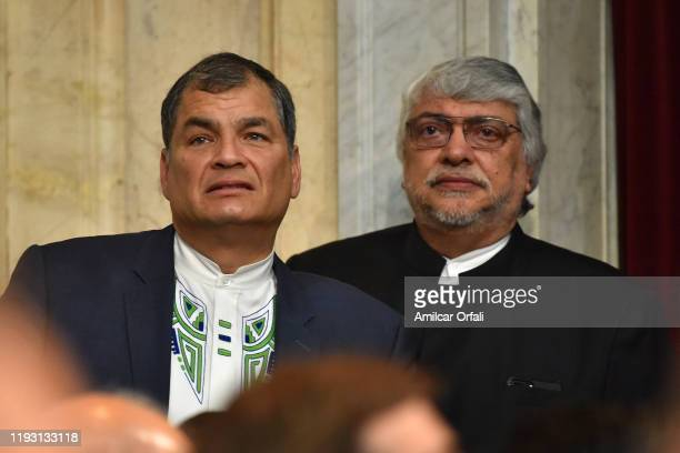 Former President of Ecuador Rafael Correa and Former President of President Fernando Lugo at National Congress on December 10 2019 in Buenos Aires...