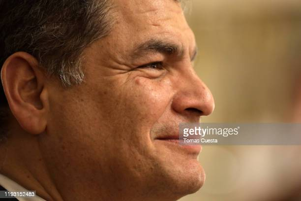 Former president of Ecuador Rafael Correa during the reception of foreign leaders at Salon Blanco of Casa Rosada Government Palace on December 10...