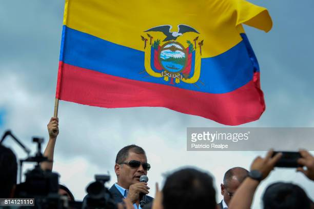 Former President of Ecuador Rafael Correa says goodbye to his followers at Mariscal Sucre Airport on July 10 2017 in Quito Ecuador Rafael Correa and...
