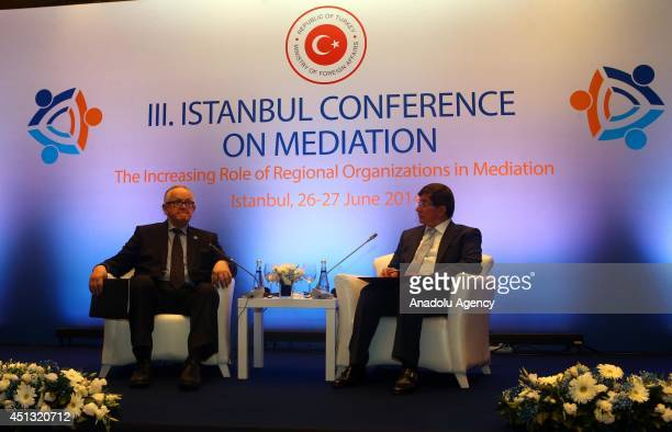 Former President of Finland Martti Ahtisaari and Turkish Foreign Minister Ahmet Davutoglu attend the 3rd Istanbul Conference on Mediation in Istanbul...