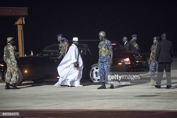 Former president of Gambia, Yahya Jammeh , the Gambia's leader for 22 years, arrives at Banjul International Airport ahead of his departure from the...