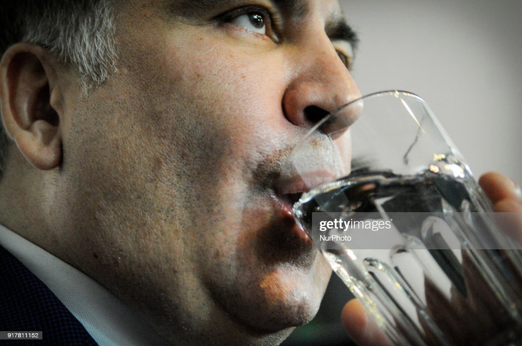 Former president of Georgia and anti-corruption activist Mikheil Saakashvili is seen at a press conference on February 13, 2018. He vowed to get back to Ukraine which he says will be a European superpower and needs to rid itself of its corrupt politicians.