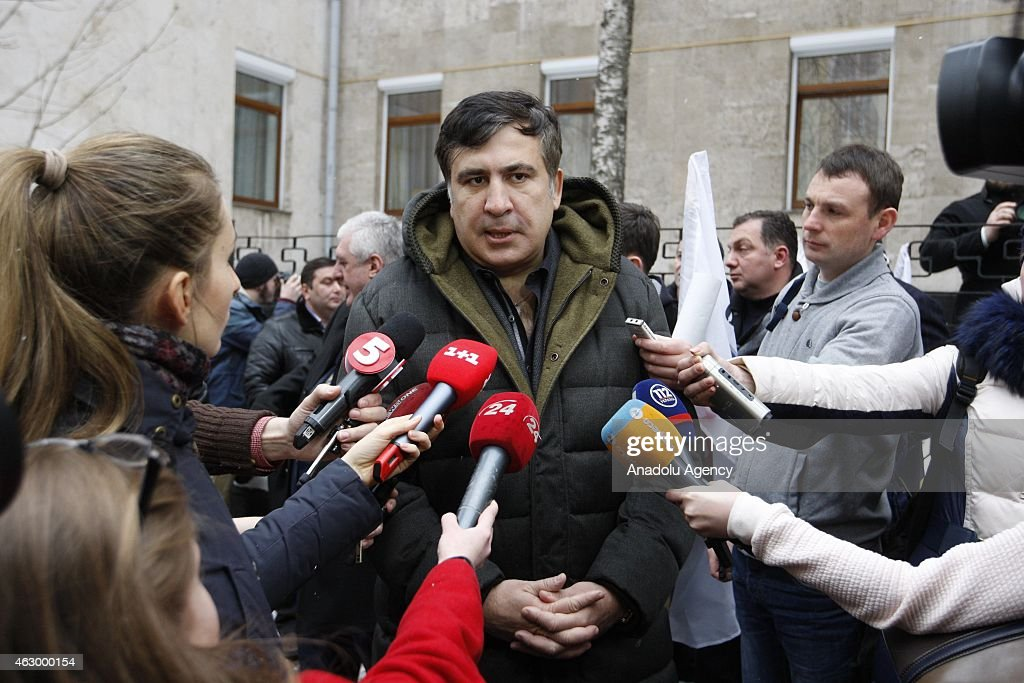 Former president of Georgia Mikheil Saakashvili speaks to the press after a ceremony held for the 29 volunteer Georgian people fighting against the pro-Russian separatists, in Kiev, Ukraine on February 08, 2015. Volunteers are granted with an award for their sacrifices for Ukraine's peace during the ceremony.