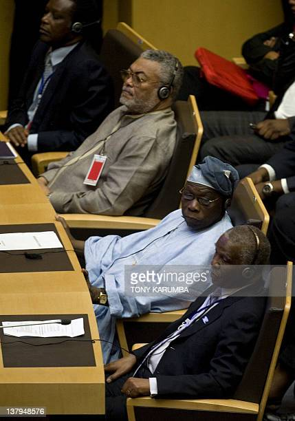 CAPTION Former President of Ghana and UN Special Envoy to Somalia Jerry Rawlings Former President of Nigeria Olusegun Obasanjo and Former President...
