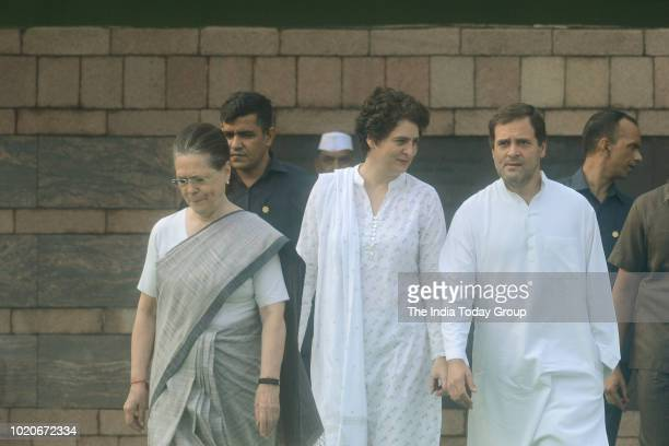 Former President of Indian National Congress Sonia Gandhi President of Indian National Congress Rahul Gandhi and Indian Politician Priyanka Gandhi...