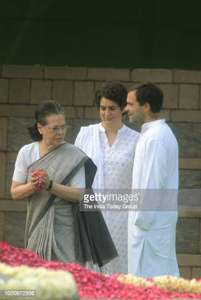 Former President of Indian National Congress, Sonia Gandhi, President of Indian National Congress, Rahul Gandhi and Indian Politician, Priyanka...