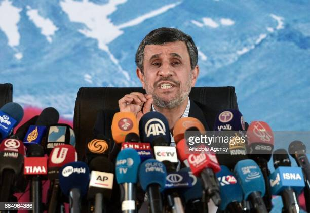 Former President of Iran Mahmoud Ahmedinejad speaks during a press conference with Former Iranian Vice President Hamid Baghaei in Tehran Iran on...