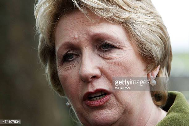 Former President of Ireland Mary McAleese after a service of peace and reconciliation at St Columba's Church on May 20 2015 in Drumcliffe Ireland The...