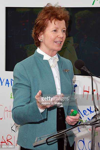 Former President of Ireland Mary Robinson attends the launch of the In My Name global campaign at Dag Hammarskjold Plaza on September 25 2008 in New...