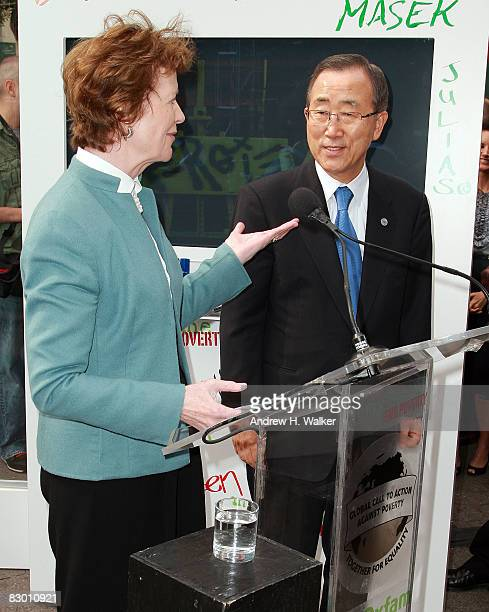 Former President of Ireland Mary Robinson introduces SecretaryGeneral of the United Nations Ban Kimoon at the launch of the In My Name global...