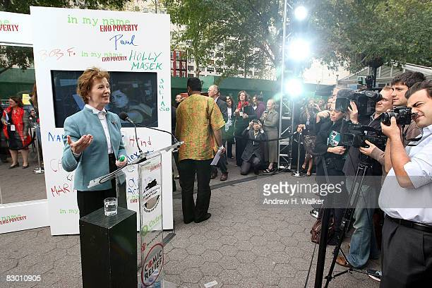 Former President of Ireland Mary Robinson speaks at the launch of the In My Name global campaign at Dag Hammarskjold Plaza on September 25 2008 in...