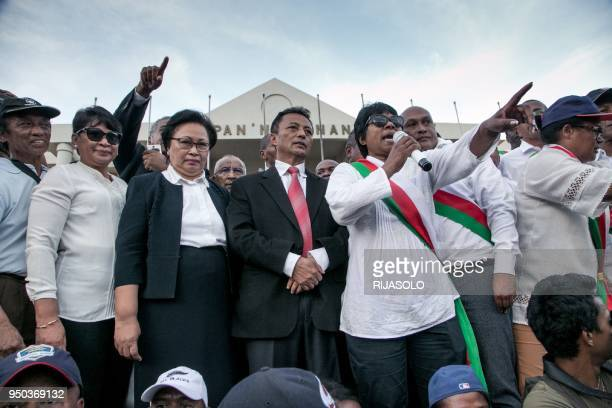 Former President of Madagascar Marc Ravalomanana and his wife Mayor of Antananarivo Lalao Ravalomanana look on as opposition supporters and deputies...