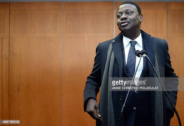 Former president of Marseille football club l'Olympique de Marseille Pape Diouf poses after announcing he his running for mayor in Marseille on...