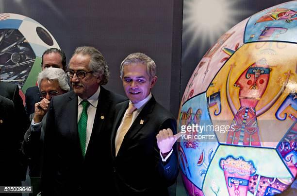 Former president of Mexican Football Federation Justino Conpean current president Decio de Maria Serrano and Mexico City Mayor Miguel Angel Mancera...