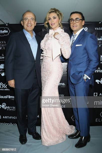 Former President of Mexico Felipe Calderon Aracely Arambula and Adal Ramones attend the 'Mano A Mano' exposition on June 7 2017 in Mexico City Mexico...