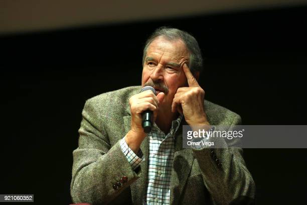 Former President of Mexico Vicente Fox gestures during a press conference to present his book 'Let's Move On Beyond Fear False Prophets' at...