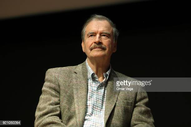 Former President of Mexico Vicente Fox looks on during a press conference to present his book 'Let's Move On Beyond Fear False Prophets' at...