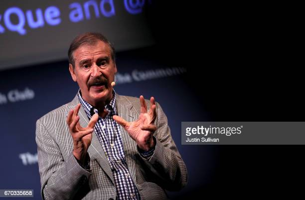 Former president of Mexico Vicente Fox speaks at the Commonwealth Club of California on April 19 2017 in San Francisco California Fox criticized US...