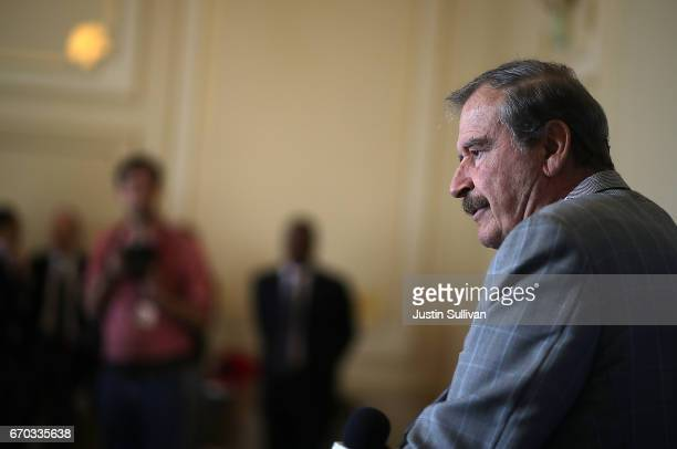 Former president of Mexico Vicente Fox speaks during a news conference at the Commonwealth Club of California on April 19 2017 in San Francisco...