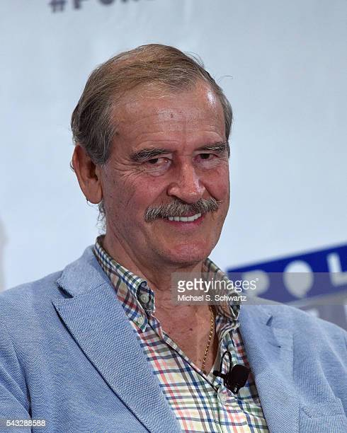 Former President of Mexico Vicente Fox speaks during his appearance at Politicon at Pasadena Convention Center on June 26 2016 in Pasadena California