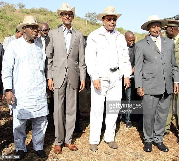 Former President of Nigeria Olusegun Obasanjo President of Rwanda Paul Kagame Ethiopian Prime Minister Hailemariam Desalegn and President of Uganda...