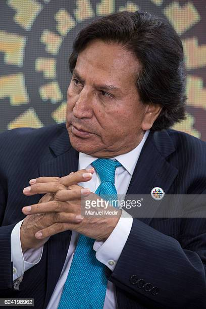 Former president of Peru Alejandro Toledo talks to the media during the Asia Pacific Economic Cooperation Summit on November 18 2016 in Lima Peru