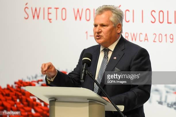 Former President of Poland Aleksander Kwasniewski speaks about 30 years of Polish democracy on Freedom and Democracy days in Gdansk Gdansk in the...