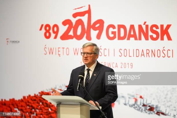 Former President of Poland, Bronislaw Komorowski speaks about 30 years of Polish democracy on Freedom and Democracy days in Gdansk. Gdansk, in the...