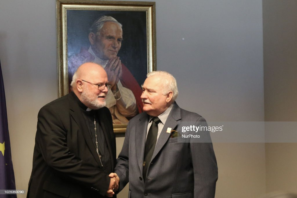 Former President of Poland Lech Walesa (R) and Reinhard Marx are seen in Gdansk, Poland on 30 August 2018 Reinhard Marx visited European Solidarity Centre in Gdansk, and meet with Lech Walesa in his office. Marx is a German cardinal of the Catholic Church, chairman of the German Bishops Conference, Archbishop of Munich and Freising and member of the College of Cardinals.