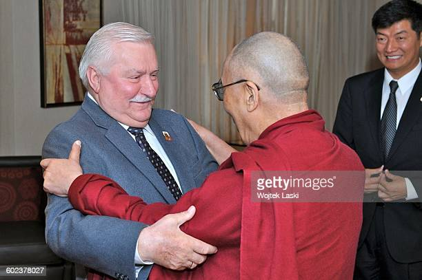 Former President of Poland Lech Walesa meets with the 14th Dalai Lama during the 12th World Summit of Nobel Peace Laureates in Chicago USA in April...
