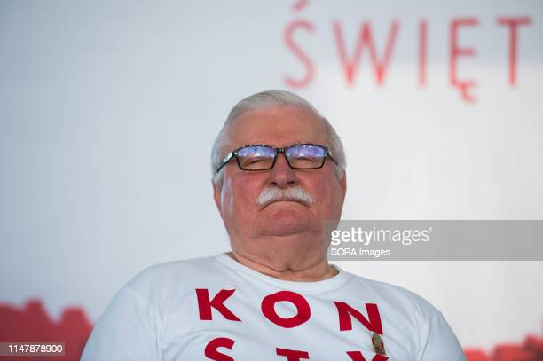 Former President of Poland, Nobel Peace Prize winner and one of the Leaders of Solidarity Movement, Lech Walesa speaks at a panel discussion during...