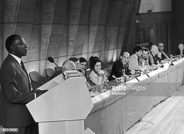 Former president of Senegal Leopold Sedar Senghor addresses delegates at UNESCO headquarters in Paris during an international symposium on science...