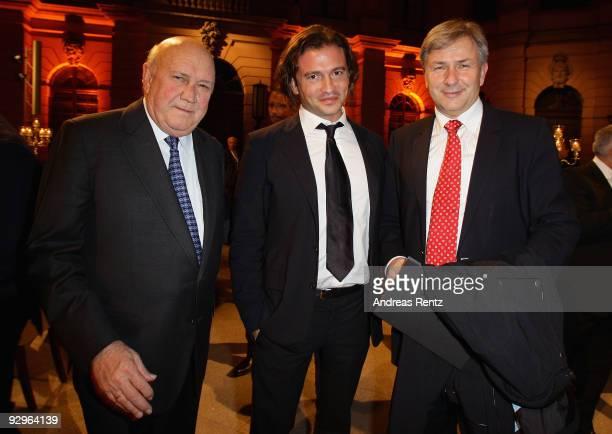 Former President of South Africa Frederik Willem de Klerk vice president of Belstaff Manuele Malenotti and Mayor of Berlin Klaus Wowereit attend the...