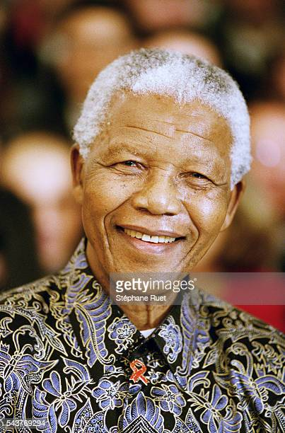 Former President of South Africa Nelson Mandela attends the International Conference of Donors for the Burundi in Paris