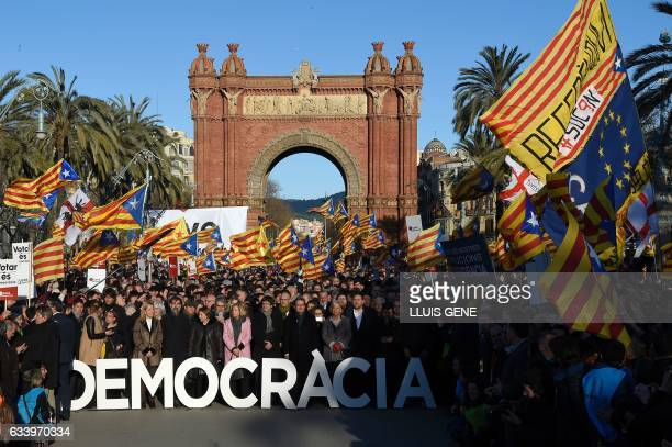 Former President of the Catalan Government and leader of Partit Democrata Europeu Catala PDECAT Artur Mas poses with other members of Catalan...