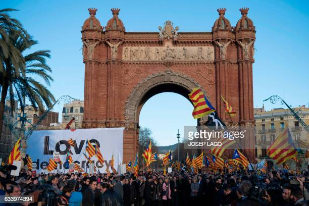 Former President of the Catalan Government and leader of Partit Democrata Europeu Catala PDECAT Artur Mas looks back as he poses with other members...