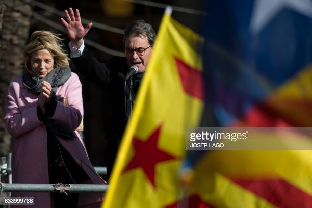 Former President of the Catalan Government and leader of Partit Democrata Europeu Catala PDECAT Artur Mas addresses his supporters past Former...