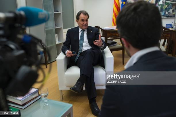 Former President of the Catalan Government and leader of Partit Democrata Europeu Catala PDECAT Artur Mas speaks during an AFP interview on February...