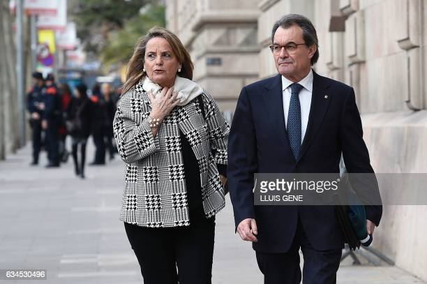 Former President of the Catalan Government and leader of Partit Democrata Europeu Catala PDECAT Artur Mas and and his wife Helena Rakosnik leave the...