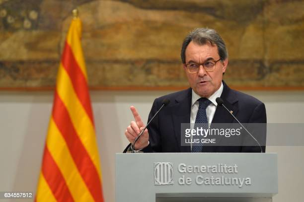 Former President of the Catalan Government and leader of Partit Democrata Europeu Catala PDECAT Artur Mas speaks during a press conference at the...