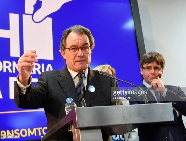 Former President of the Catalan Government and leader of Partit Democrata Europeu Catala PDECAT Artur Mas gives a press conference past President of...