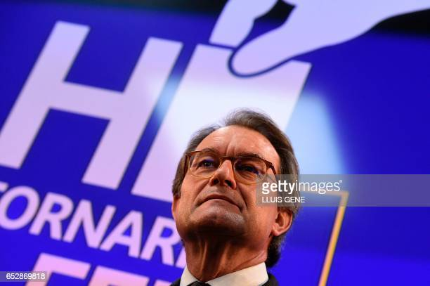 Former President of the Catalan Government and leader of Partit Democrata Europeu Catala PDECAT Artur Mas gives a press conference after the...