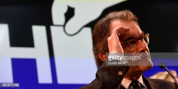 Former President of the Catalan Government and leader of Partit Democrata Europeu Catala PDECAT Artur Mas gestures during a press conference after...