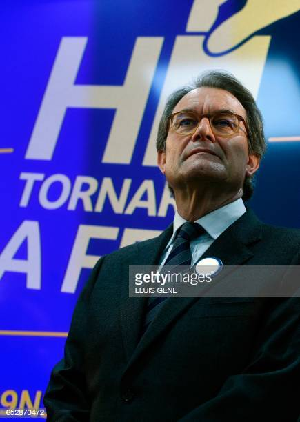 Former President of the Catalan Government and leader of Partit Democrata Europeu Catala PDECAT Artur Mas looks on during a press conference after...