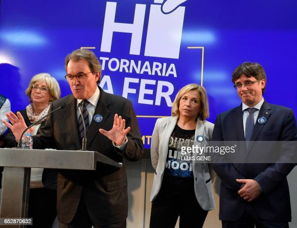 Former President of the Catalan Government and leader of Partit Democrata Europeu Catala PDECAT Artur Mas gives a press conference past former...