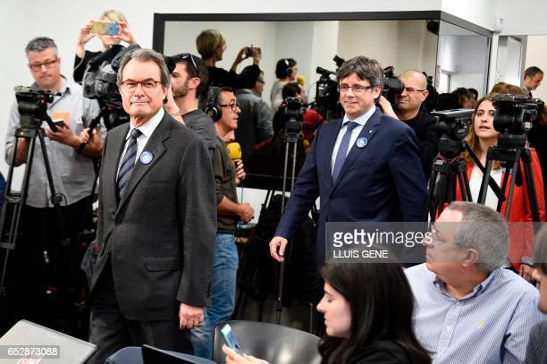 Former President of the Catalan Government and leader of Partit Democrata Europeu Catala PDECAT Artur Mas followed by President of the Catalan...