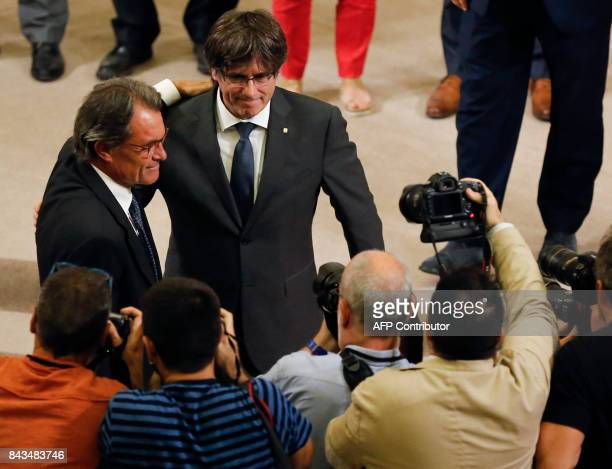 Former President of the Catalan Government and leader of Partit Democrata Europeu Catala PDECAT Artur Mas and President of the Catalan Government...