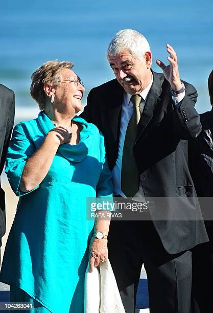Former president of the Catalan government Pasqual Maragall poses next to his wife Diana Garrigosa during a photocall after the screening of director...