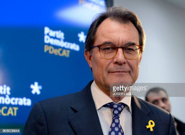Former President of the Catalan regional government and leader of 'Partit Democrata Europeu Catala' PDECAT Artur Mas arrives to hold a press...